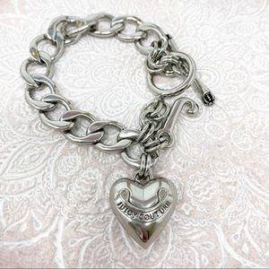 Juicy Couture Silvertone Puff Heart Charm Bracelet